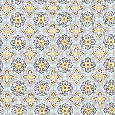 Katoenen stof Bloemenornament 6 – blauw