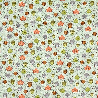 Katoenen stof herfstbladen 2 – mintgroen