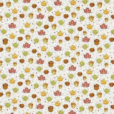 Katoenen stof Herfstbladen 1 – wit