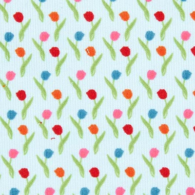 Flower Parade Tulips Baby Cord 1 – blue