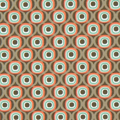 Katoenjersey Retro cirkels 1 - bruin