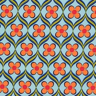 Katoenjersey Bloemenornament 2 – blauw
