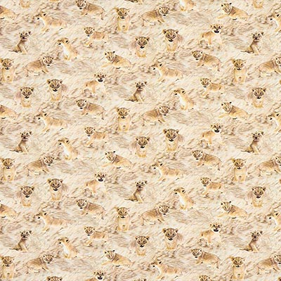 Katoenjersey Leeuwenbaby's – beige