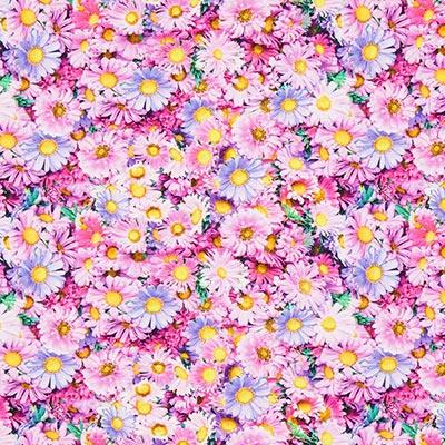 Katoenjersey Bloemen – roze