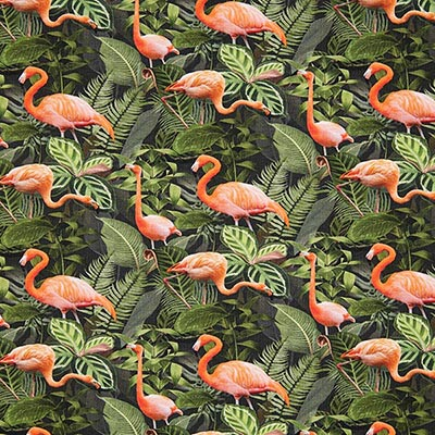 Katoenjersey Flamingo jungle – groen