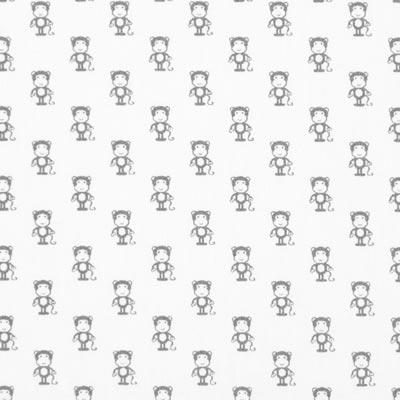Katoenen stof Kleine apen – wit