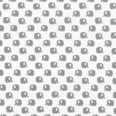 Katoenen stof Kleine olifanten – wit