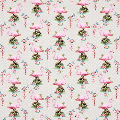 Katoenjersey Nice flamingo 2 – lichtgrijs