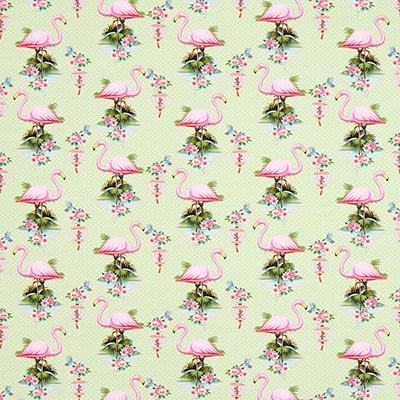 Katoenjersey Nice flamingo 1 – lichtgroen