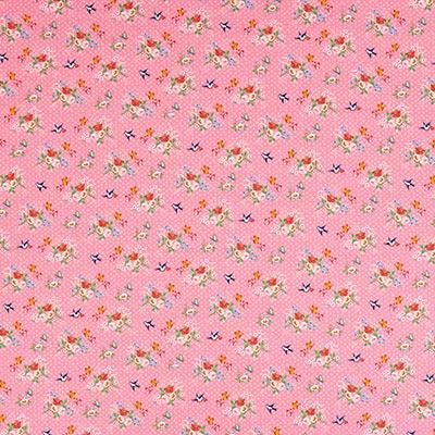 Katoenen stof Aanimal band 2 – roze