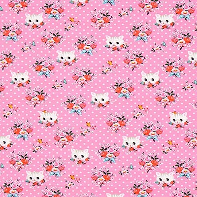 Katoenjersey Kittens 1 – pink