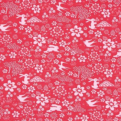 Katoenen stof Folk animals 3 – rood