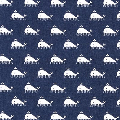 Cretonne Whale – navy