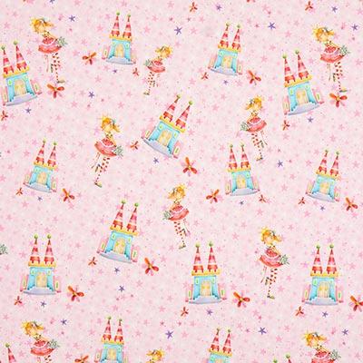 Jerseytyg Prinsessa Slott Digitaltryck – rosa