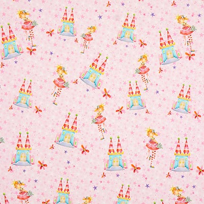 Jerseystof prinses slot digitale print – roze