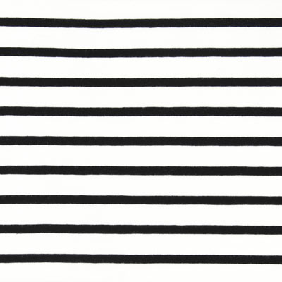 Tela de jersey a rayas – blanco lana/negro
