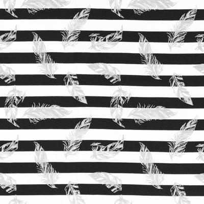 Jersey strepen en veren – zwart/wit