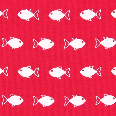 Katoenjersey Fish fun 2 – rood