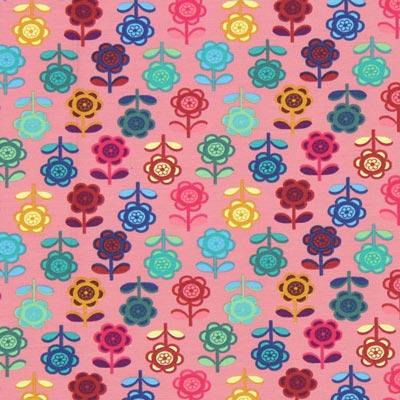 Jersey Bonte bloemen – oudroze
