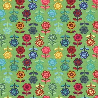 Jersey Bonte bloemen – grasgroen