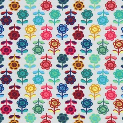 Jersey Bonte bloemen – parelgrijs