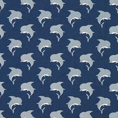 Katoenen stof dolfijnen 1 – blauw