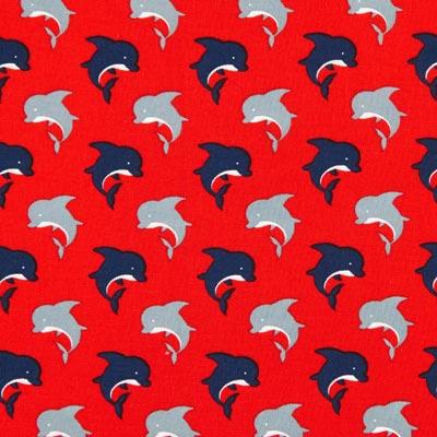 Katoenen stof dolfijnen 2 – rood