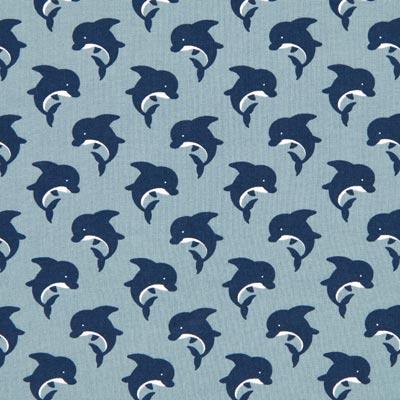 Katoenen stof dolfijnen 4 – grijs