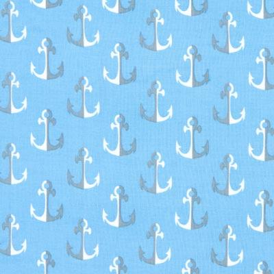 Katoenen stof anker parade 3 – blauw