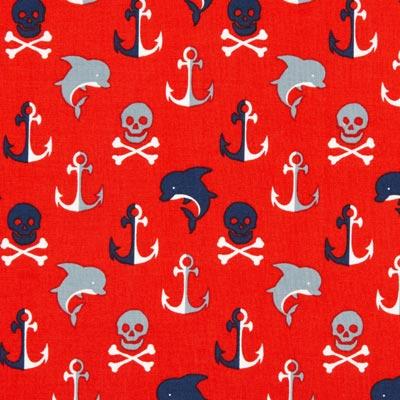 Katoenen stof piraten oceaan 2 – rood
