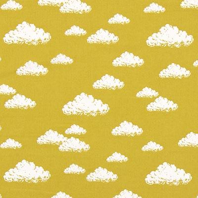 Katoenen stof Pastel Clouds 4 – mosterd