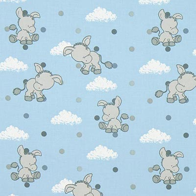 Katoenen stof Pastel Baby-Donkey 3 – blauw