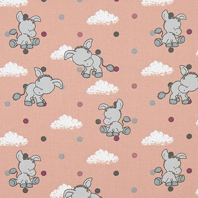 Katoenen stof Pastel Baby-Donkey 2 – oudroze