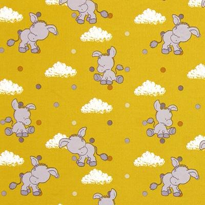 Katoenen stof Pastel Baby-Donkey 4 – mosterd