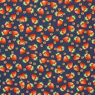 Katoenen stof Strawberry 2 – blauw