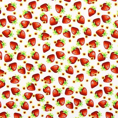 Katoenen stof Strawberry 1 – wit