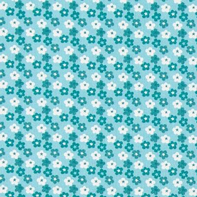 Tela de algodón Mini flores 6 – turquesa