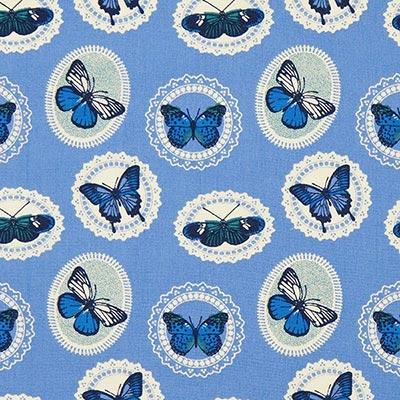 Katoenen stof vlinders 4 – blauw
