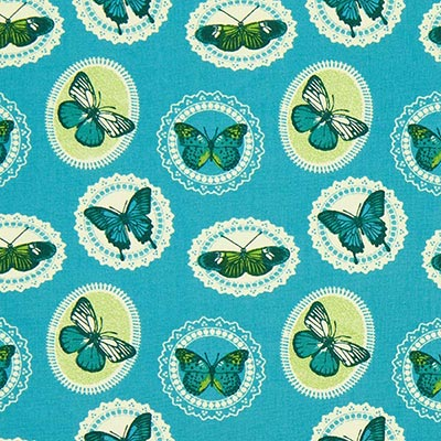 Katoenen stof vlinders 7 – blauw