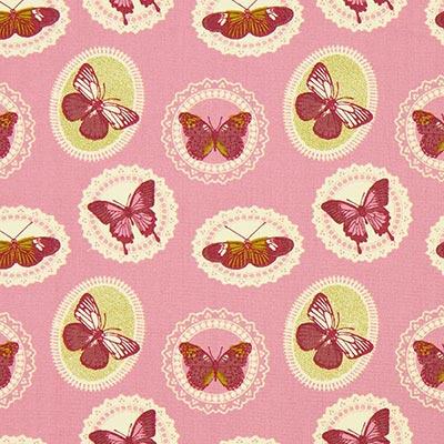 Katoenen stof vlinders 7 – roze