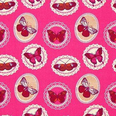 Katoenen stof vlinders 6 – pink