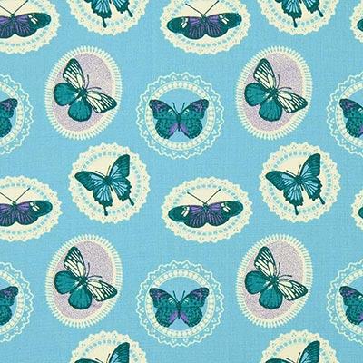 Katoenen stof vlinders 5 – turkoois