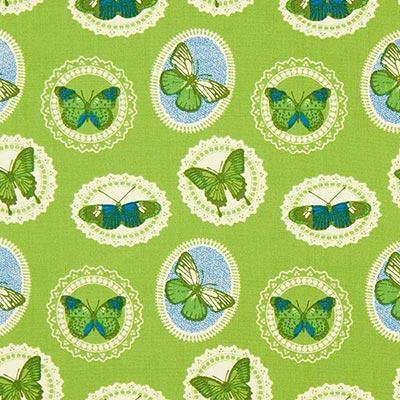 Katoenen stof vlinders 5 – groen