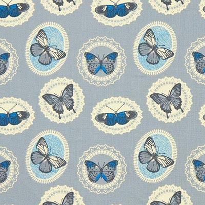 Katoenen stof vlinders 2 – grijs