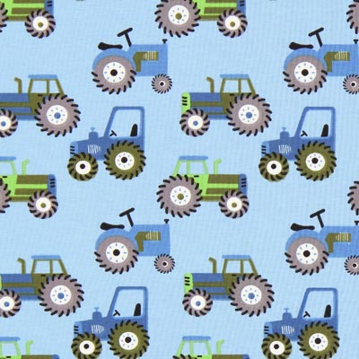 Katoenjersey tractoren 1 – blauw