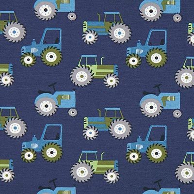 Katoenjersey tractoren 3 – blauw