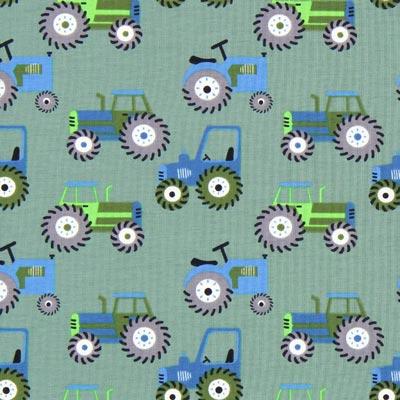 Katoenjersey tractoren 2 – groen