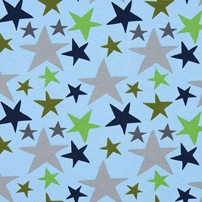 Katoenjersey sterrenmix 4 – blauw