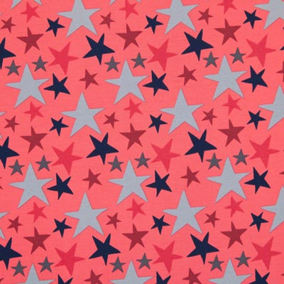 Katoenjersey sterrenmix 2 – rood