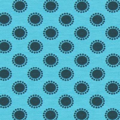 Katoenjersey stippenbloemen 3 – blauw